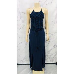 Lucky Brand Navy Blue Halter Maxi Dress